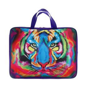 Пaпка с ручками, текстильная, А4, 340 х 260 х 80 мм, «Разноцветный тигр» (ручка-тесьма)