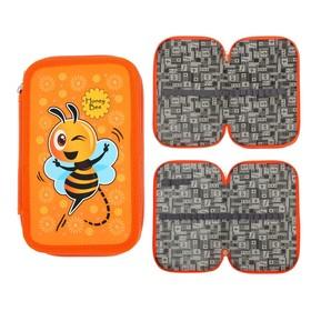 Пенал 2 секции «Пчёлы», 120 х 205 мм, с блёстками