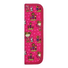 """Пенал 1 секция 55 х 205, ткань """"Девочка с зайкой"""", розовый"""