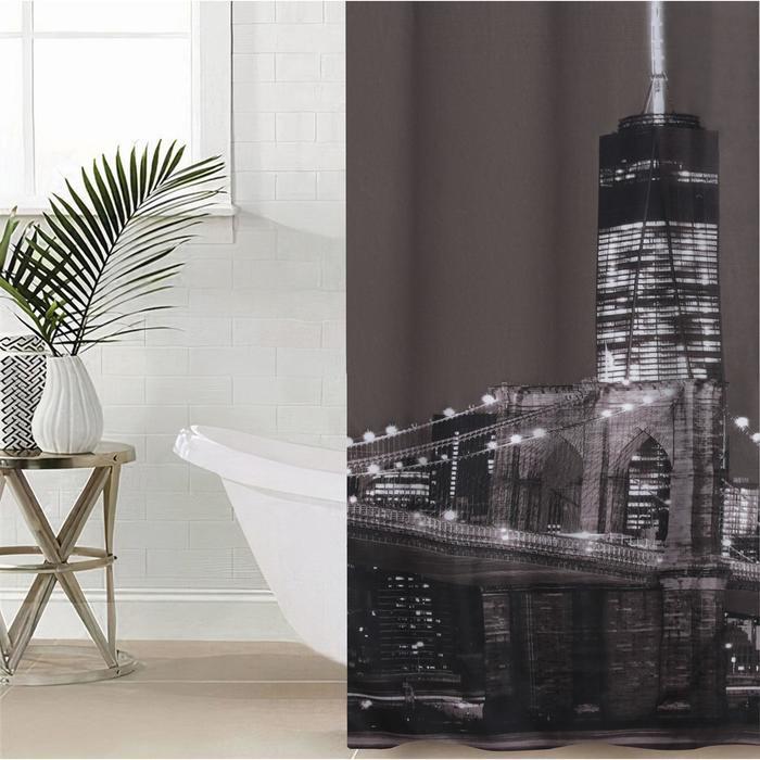 Штора для ванной комнаты Доляна «Манхэттен», с люверсами, 180×180 см, полиэстер