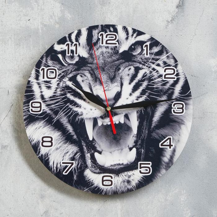 """Часы настенные, серия: Новый год 2022, """"Чёрно-белый тигр"""", d=24 см"""