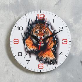 """Часы настенные, серия: Новый год 2022, """"Опасный тигр"""", d=24 см"""