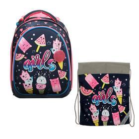 Рюкзак каркасный, Luris «Колибри 3», 37 x 28 x 19 см, наполнение: мешок для обуви, «Вкусняшки»