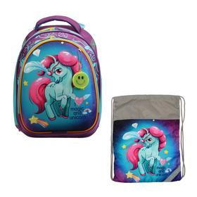 Рюкзак каркасный, Luris «Колибри 3», 37 x 28 x 19 см, наполнение: мешок для обуви, «Лошадка»