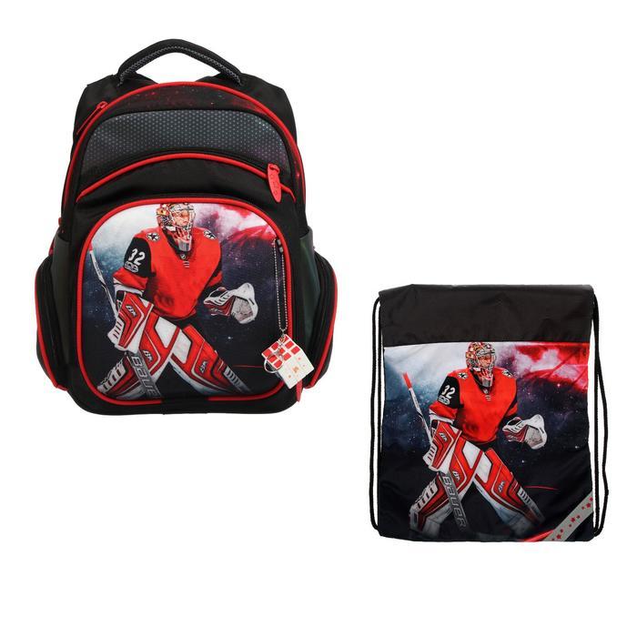 Рюкзак каркасный, Luris «Твинкл», 38 x 30 x 16 см, наполнение: мешок для обуви, «Хоккей» - фото 823231