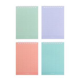 Блокнот А6, 40 листов в клетку, на гребне Just color, обложка мелованный картон, МИКС