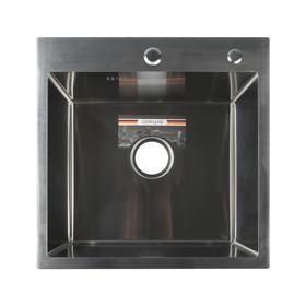 Мойка кухонная GERHANS K35050, врезная, 500 х 500 х 220 мм,  толщина 1,0 мм, с сифоном