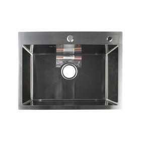 Мойка кухонная GERHANS K36045, врезная, 600 х 450 х 220 мм,  толщина 1,0 мм, с сифоном