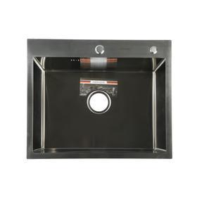 Мойка кухонная GERHANS K36050, врезная, 600 х 500 х 220 мм,  толщина 1,0 мм, с сифоном