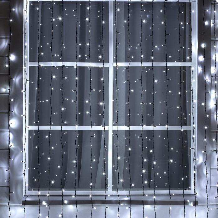 ЗАНАВЕС SPEC. IP44, УМС, Ш:2 м, В:7,5 м, Н.Т. 3W LED-1800/450-220V, мерцание, БЕЛЫЙ - фото 583621