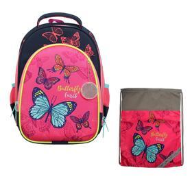 Рюкзак каркасный, Luris «Джерри 2», 38 х 28 х 18 см, наполнение: мешок для обуви, «Бабочки»