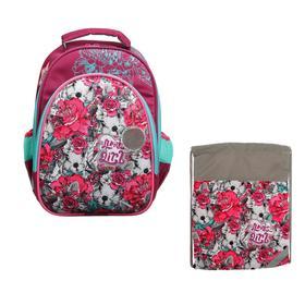 Рюкзак каркасный, Luris «Джерри 2», 38 х 28 х 18 см, наполнение: мешок для обуви, «Цветы»