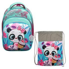 Рюкзак каркасный, Luris «Джерри 3», 38 x 28 x 20 см, наполнение: мешок для обуви, «Панда»