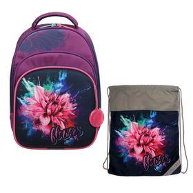 Рюкзак каркасный, Luris «Джерри 3», 38 x 28 x 20 см, наполнение: мешок для обуви, «Цветы»