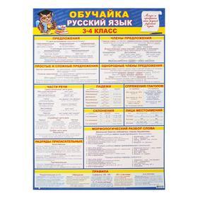 "Плакат ""Обучайка по русскому языку 3-4 класс"" А2"