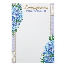 """Благодарность """"Родителям"""" голубые цветы"""