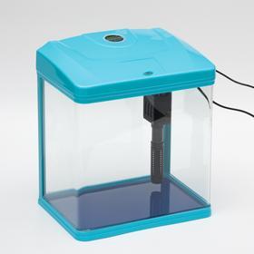 Аквариум BARBUS с фильтром и подсветкой LED, голубой 9л
