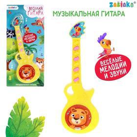 Музыкальная гитара «Весёлые зверята», игрушечная, звук, цвет жёлтый в Донецке