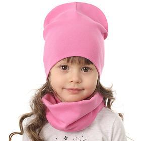 Комплект (шапка, снуд) для девочки, цвет розовый, размер 50-52 см