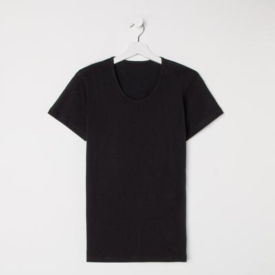 Футболка женская однотонная, цвет чёрный, размер 48