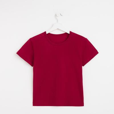 Футболка женская однотонная, цвет бордовый, размер 48