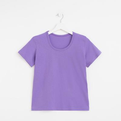 Футболка женская однотонная, цвет фиолетовый, размер 52