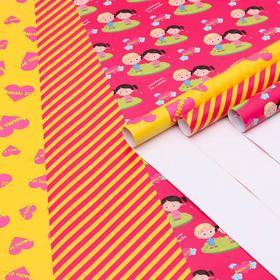 "Набор  глянцевой бумаги ,  ""Love is"" желтый,  1 х 0,7 м,  3 листа"