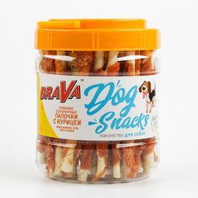 Лакомство BraVa сушеные сыромятные палочки с курицей для собак, банка, 600 г