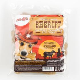 """Сыромятная прессованная косточка BraVa  Sheriff 4"""" 10см, 10 х 34-36 гг"""