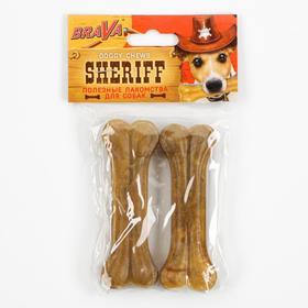 """Сыромятная прессованная косточка BraVa  Sheriff 4"""" 10см, 2 х 34-36 г"""