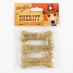 """Сыромятная прессованная косточка BraVa  Sheriff 3"""" 7,5см, 3 х 24-26 г"""
