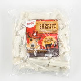 """Сыромятная прессованная косточка BraVa  Sheriff белая 3"""" 7,5см, 50 х 20-25 г"""