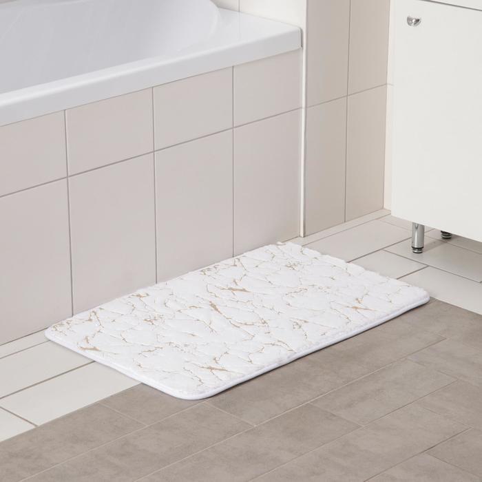 Коврик Доляна «Камень», 50×80 см, цвет белый