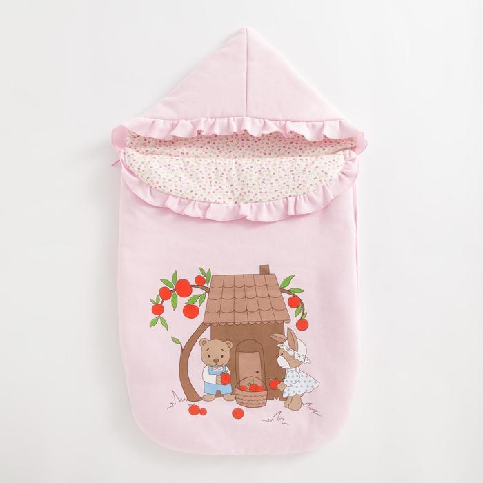 Конверт на молнии «Яблочный садик» цвет розовый - фото 871535