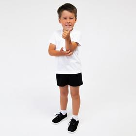 Комплект (футболка, шорты) детский, цвет белый/чёрный, рост 140 см