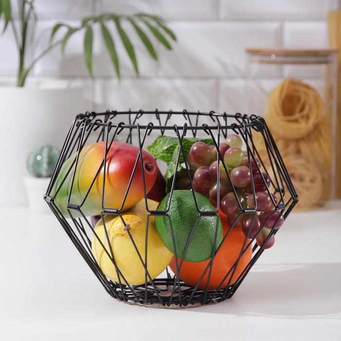 Ваза для фруктов Доляна раскладная, 29×29×4,5 см, цвет чёрный
