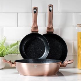 Набор посуды Berlinger Haus Rosegold Line, 3 предмета: 2 сковороды d=20, 24 см, сотейник 3,8 л, 28×7 см