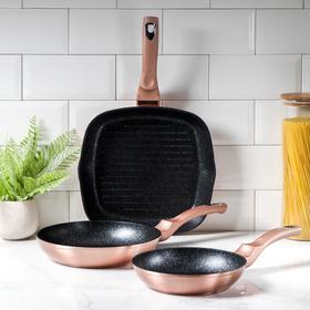 Набор посуды Berlinger Haus Rosegold Line, 3 предмета: сковороды d=20 см, d=24 см, сковорода-гриль d=28 см, цвет бронзовый