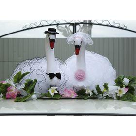 Лебеди на крышу, объёмные, бело-розовые Ош