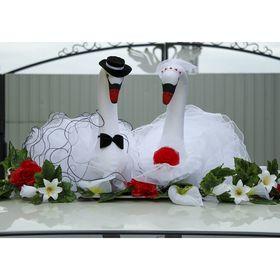 Лебеди на крышу, объёмные, бело-красные Ош