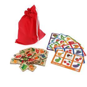 Лото «Фрукты-овощи» 42 фишки, 7 карточек, 22.5 × 13.5 × 5 см