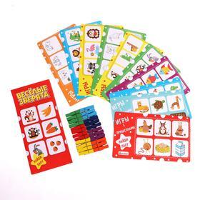 Игры с прищепками «Найди пару» 12 карточек, 24 прищепки, размер прищепки: 4.5 × 1 × 0.7 см, 22.5 × 13.5 см