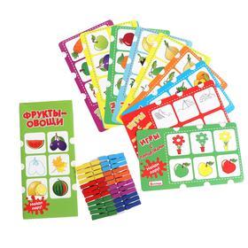 Игры с прищепками «Фрукты-овощи» 12 карточек, 24 прищепки, размер прищепки: 4.5 × 1 × 0.7 см, 22.5 × 1 см
