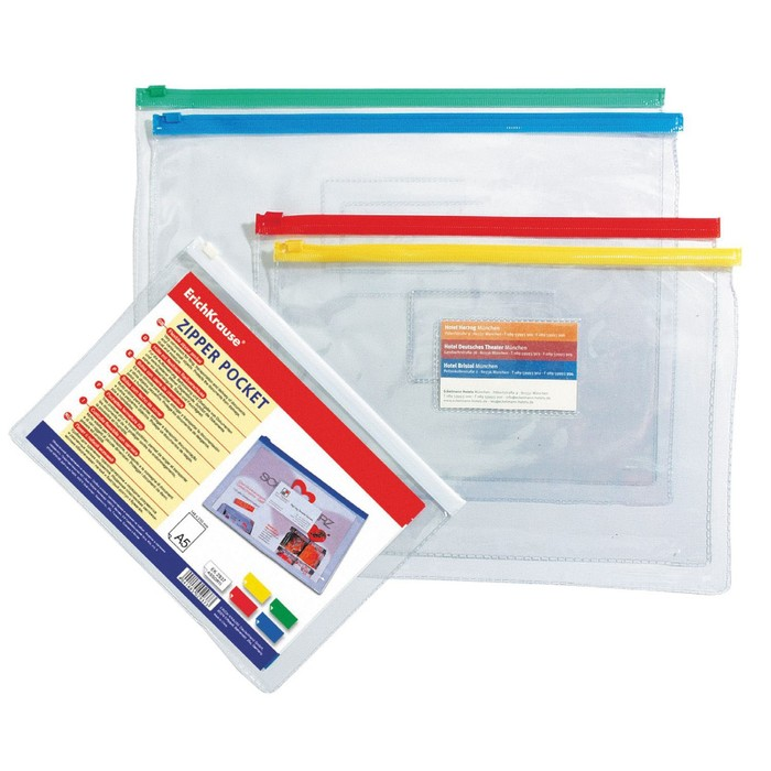 Папка-конверт на ZIP-молнии В6 140 мкм, ErichKrause PVC Zip Pocket, прозрачная микс, до 100 листов (1 шт.)