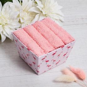 """Набор махровых салфеток """"Фламинго"""" 30х30 см -4 шт, 100% хл, 340гр/м2"""