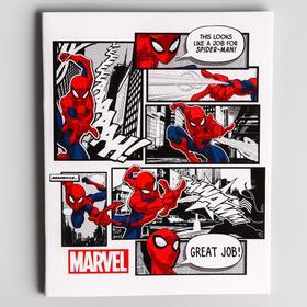 Тетрадь 48 листов в клетку, картонная обложка, Человек-паук