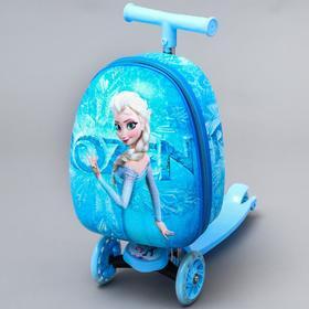 Чемодан дет Эльза, с самокатом, отд на молнии, 3 колеса, голубой