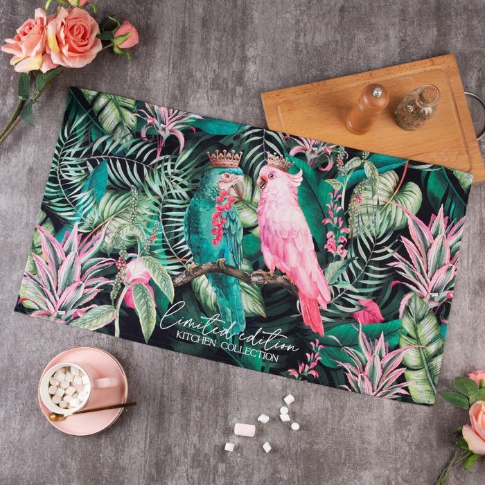 """Полотенце """"Этель"""" Tropical parrots 40х73 см, 100% хл, саржа 190 гр/м2 - фото 881673"""