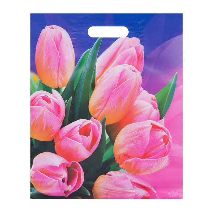 """Пакет """"Тюльпаны на фиолетовом"""", полиэтиленовый с вырубной ручкой, 31 х 40 см, 60 мкм - фото 1501607"""