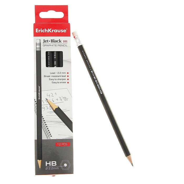 Набор карандашей чернографитных с ластиком 12 штук Erich Krause JET BLACK 101 HB, сплошная проклейка грифеля, грифель диаметром 2.2мм - фото 369526010